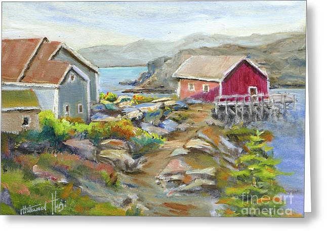 Peggy's Cove Greeting Card by Mohamed Hirji