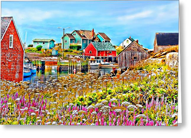 Peggy's Cove Wildflower Harbour Greeting Card by Kevin J McGraw