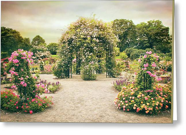 Peggy's Rose Garden Greeting Card by Jessica Jenney