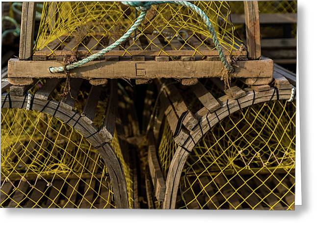 Greeting Card featuring the photograph Pei Loberster Traps With Yellow Netting by Chris Bordeleau
