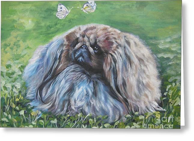 Pekingese Greeting Card by Lee Ann Shepard