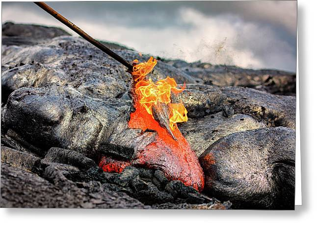 Pele's Fire Greeting Card by Jeremy Clinard