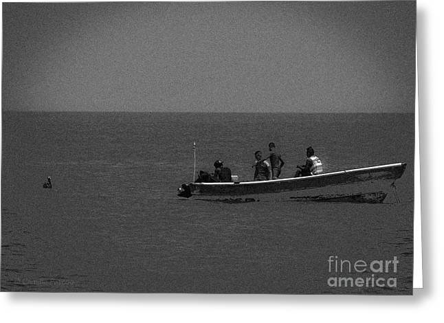 Pelican And The Fishing Boat Greeting Card