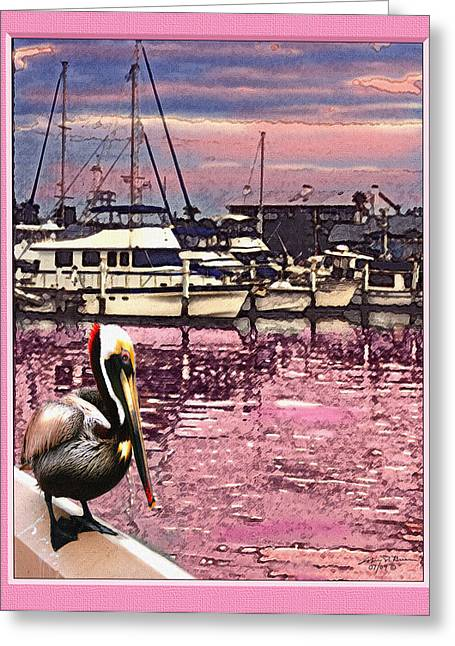 Pelican At Sunset 1 Greeting Card by John Breen