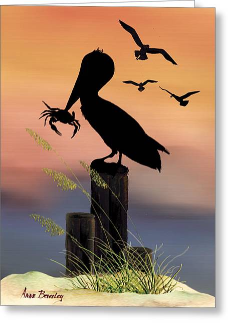 Greeting Card featuring the painting Pelican At Sunset by Anne Beverley-Stamps