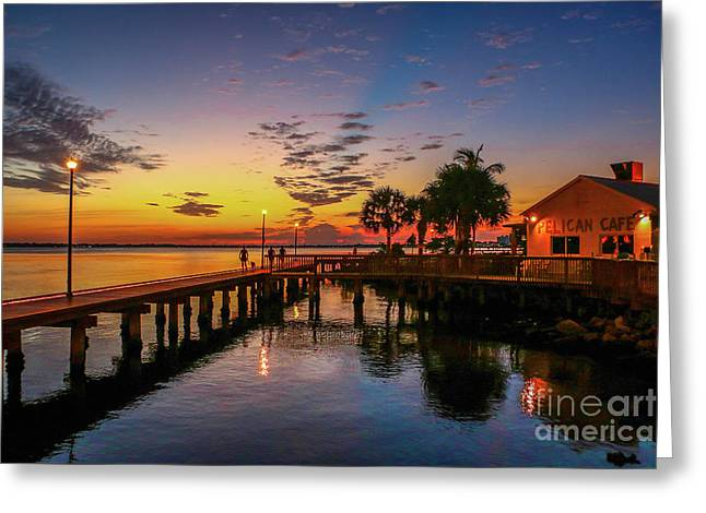 Pelican Cafe Sunrise Greeting Card by Tom Claud