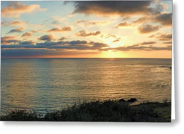 Pelican Cove Park Panorama Greeting Card by Eddie Yerkish