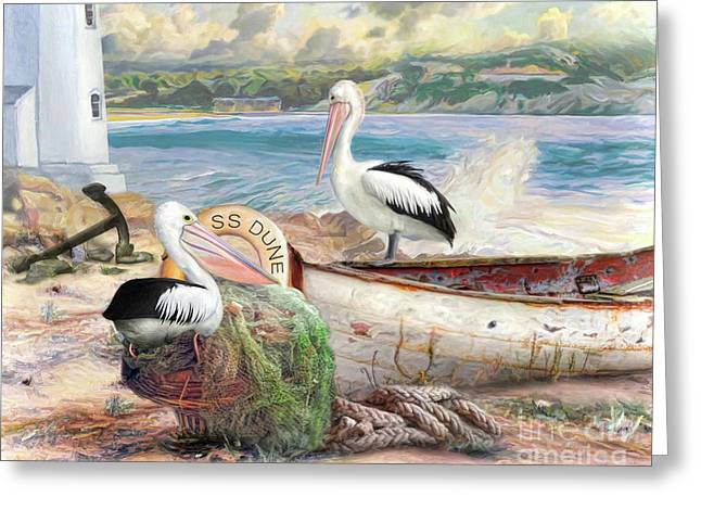 Greeting Card featuring the digital art  Pelican Cove by Trudi Simmonds
