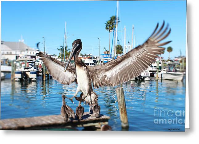 Pelican Flying In Greeting Card