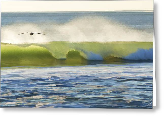Pelican Flying Over Wind Wave Greeting Card