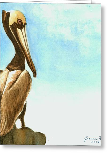 Pelican Greeting Card by Jeanne Kay Juhos