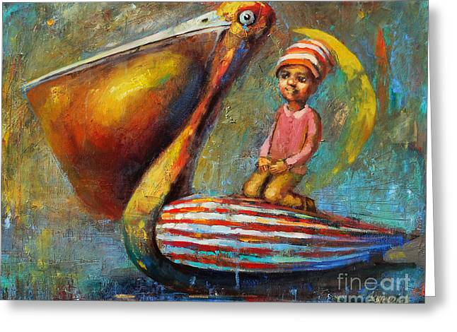 Pelican Journey Greeting Card by Michal Kwarciak