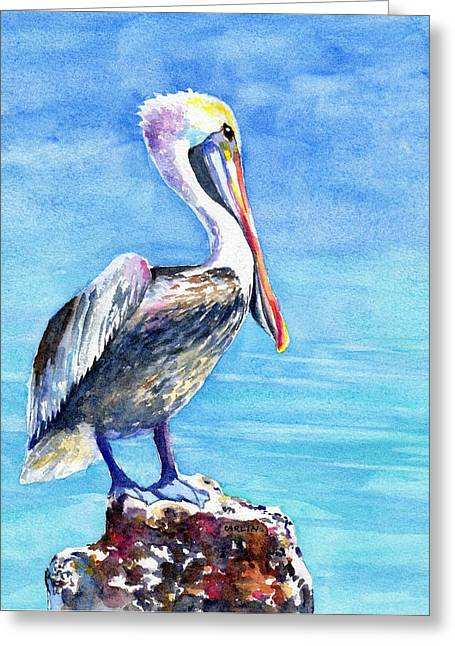 Greeting Card featuring the painting Pelican On A Post  by Carlin Blahnik CarlinArtWatercolor