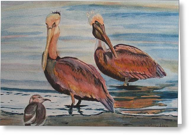 Greeting Card featuring the painting Pelican Party by Karen Ilari