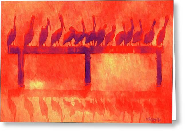 Pelican Perch - Mississippi Gulf Coast Sunset Greeting Card by Rebecca Korpita