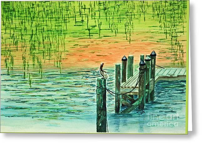 Terri Waters Paintings Greeting Cards - Pelican Perch Greeting Card by Terri Mills