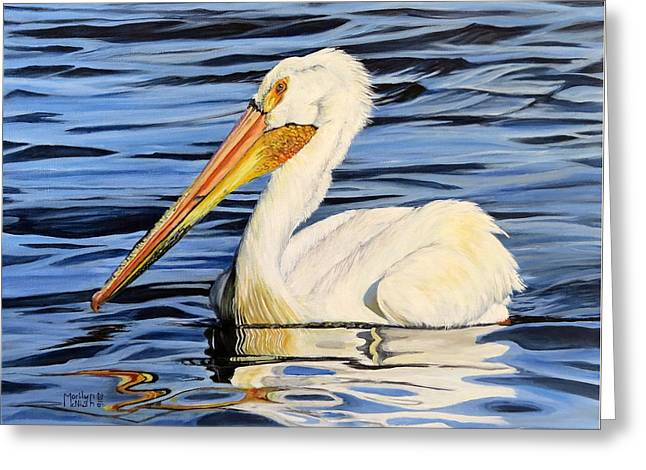 Pelican Posing Greeting Card by Marilyn McNish
