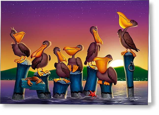 Pelican Sunset Whimsical Cartoon -  Square Format Greeting Card by Walt Curlee