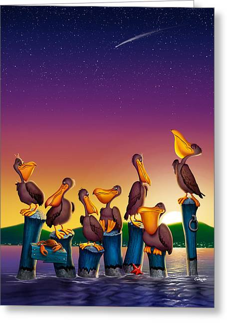 Pelican Sunset Whimsical Cartoon Tropical Birds Seascape - Vertical Greeting Card by Walt Curlee