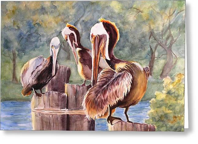 Pelican Town Meeting  Greeting Card by Barbara Jung