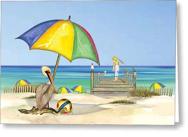 Greeting Card featuring the painting Pelican Under Umbrella by Anne Beverley-Stamps