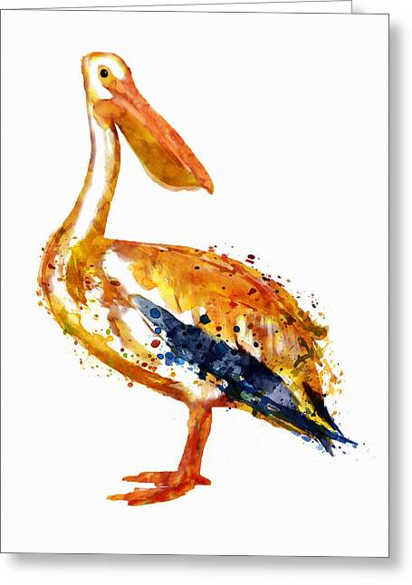 Pelican Watercolor Painting Greeting Card by Marian Voicu