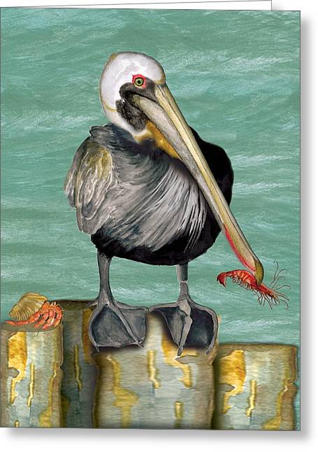 Greeting Card featuring the painting Pelican With Shrimp by Anne Beverley-Stamps