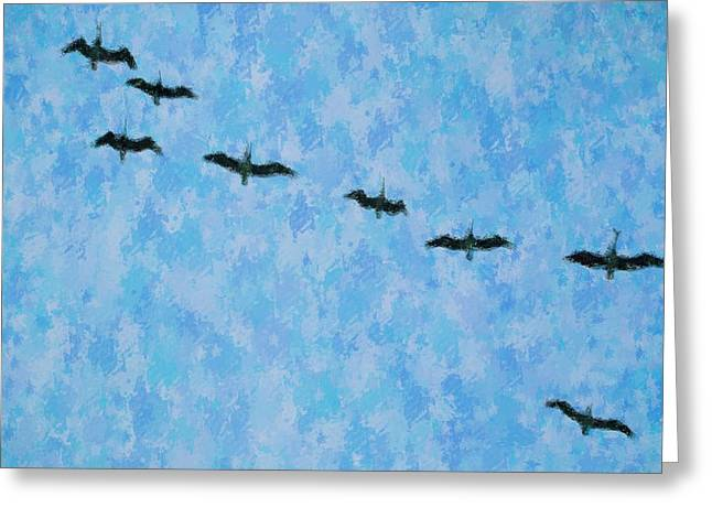 Pelicans' Flight Greeting Card