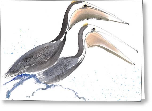 Pelicans Greeting Card by Mui-Joo Wee