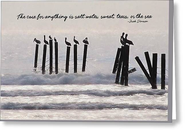 Pelicans Perched Quote Greeting Card by JAMART Photography