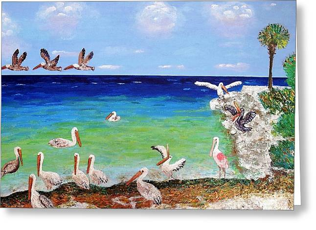 Pelicans Greeting Card by Vicky Tarcau