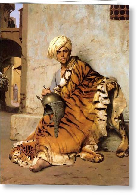 Pelt Merchant Of Cairo - 1869 Greeting Card by Jean-Leon Gerome