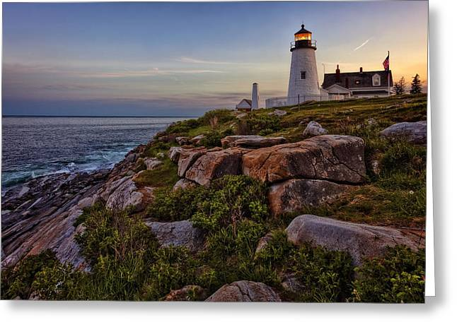 Pemaquid Light At Dusk Greeting Card by Diana Powell