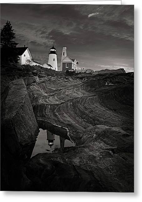 Pemaquid Lighthouse At Dawn Black And White Greeting Card