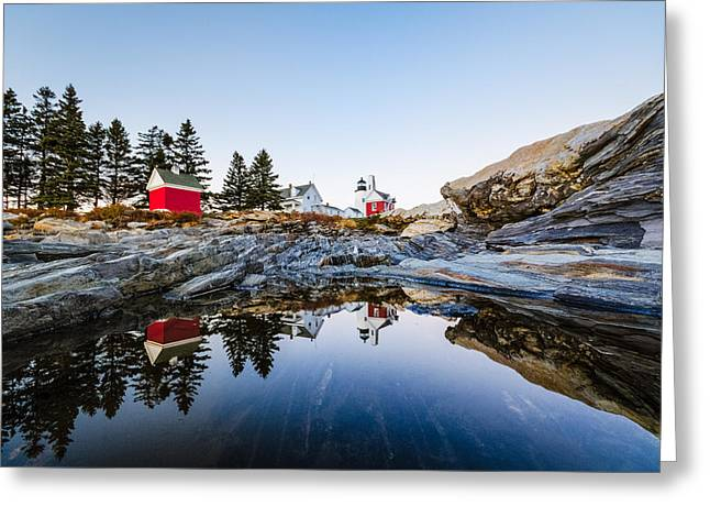 Pemaquid Point Light Reflection Greeting Card by Robert Clifford