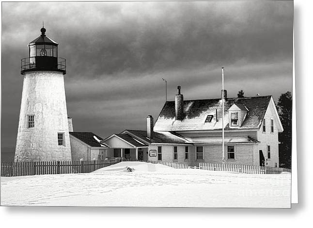 Pemaquid Point Lighthouse And Museum In Winter Monochrome  Greeting Card by Olivier Le Queinec