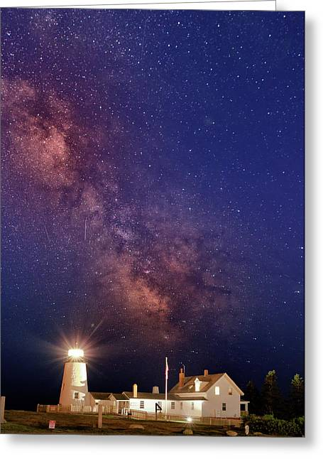 Pemaquid Point Lighthouse And The Milky Way Greeting Card