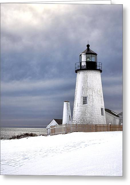 Pemaquid Point Lighthouse In Winter Greeting Card by Olivier Le Queinec