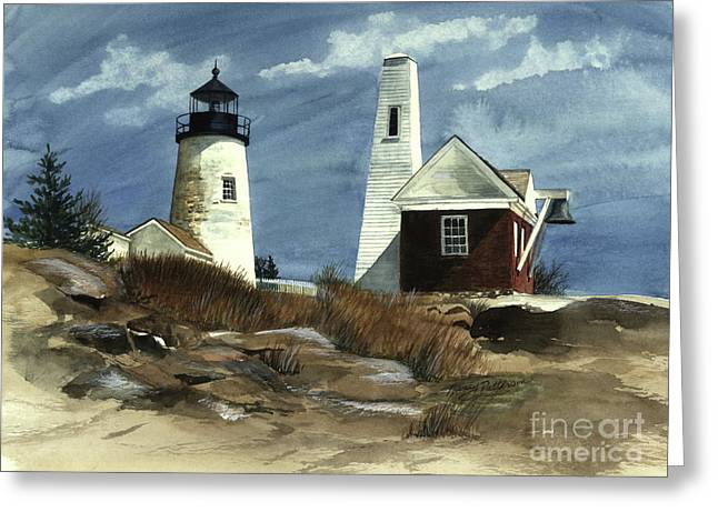 Maine Lighthouses Paintings Greeting Cards - Pemaquid Point Lighthouse  Greeting Card by Nancy Patterson