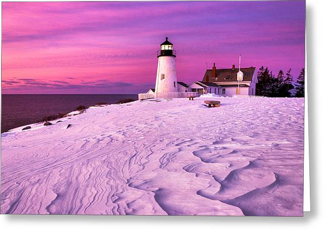 Pemaquid Winter Sunrise Greeting Card by Benjamin Williamson