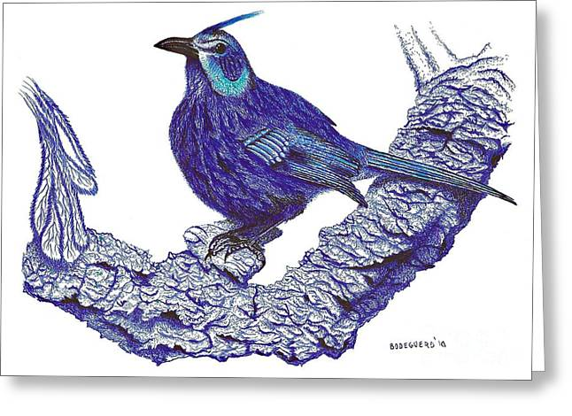 Pen And Ink Drawing Of Blue Bird Greeting Card by Mario Perez