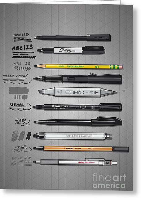 Pen Collection For Sketching And Drawing Greeting Card
