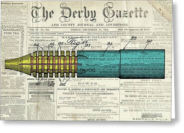 Pen Patent, Year 1939, Classic Patent Drawing On Old Newspaper Greeting Card