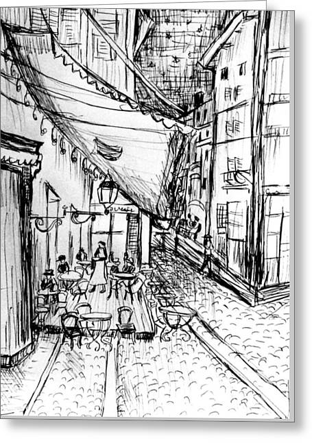 Pen Sketch Of Cafe Terrace At Night Greeting Card by Hae Kim
