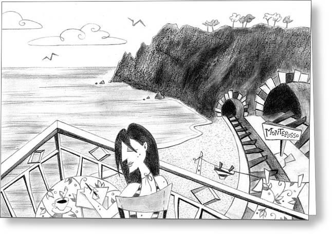 Pencil Drawing - Cartoon Illustration Greeting Card by Arte Venezia