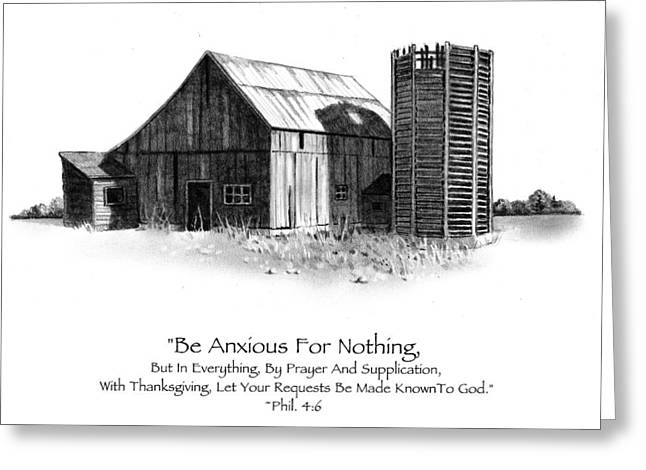 Pencil Drawing Of Old Barn With Bible Verse Greeting Card by Joyce Geleynse