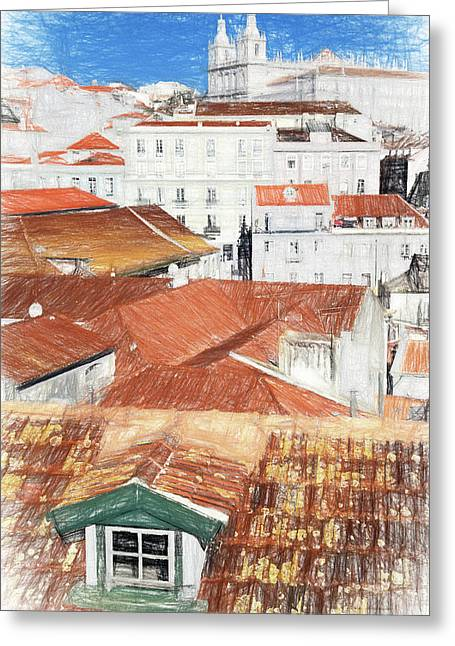 Pencil Drawing Of The Alfama District In Lisbon Greeting Card