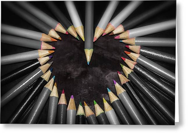 Pencil Heart Greeting Card by Martin Newman