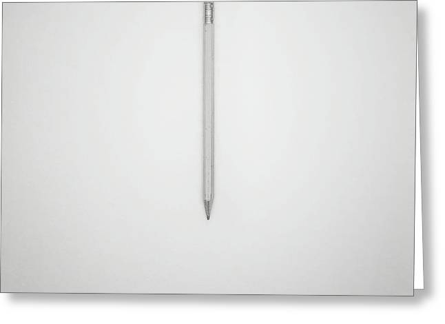 Pencil On A Blank Page Greeting Card