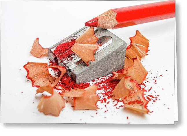 Pencil Sharpener And Red Colour Pencil. Greeting Card by Bernard Jaubert